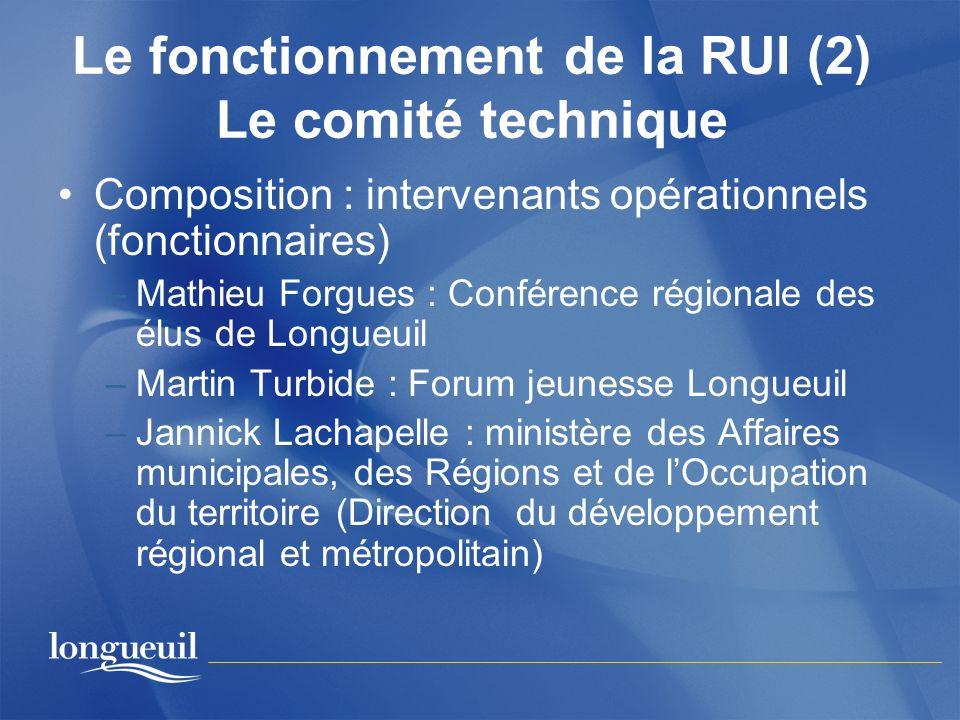 Le fonctionnement de la RUI (2) Le comité technique