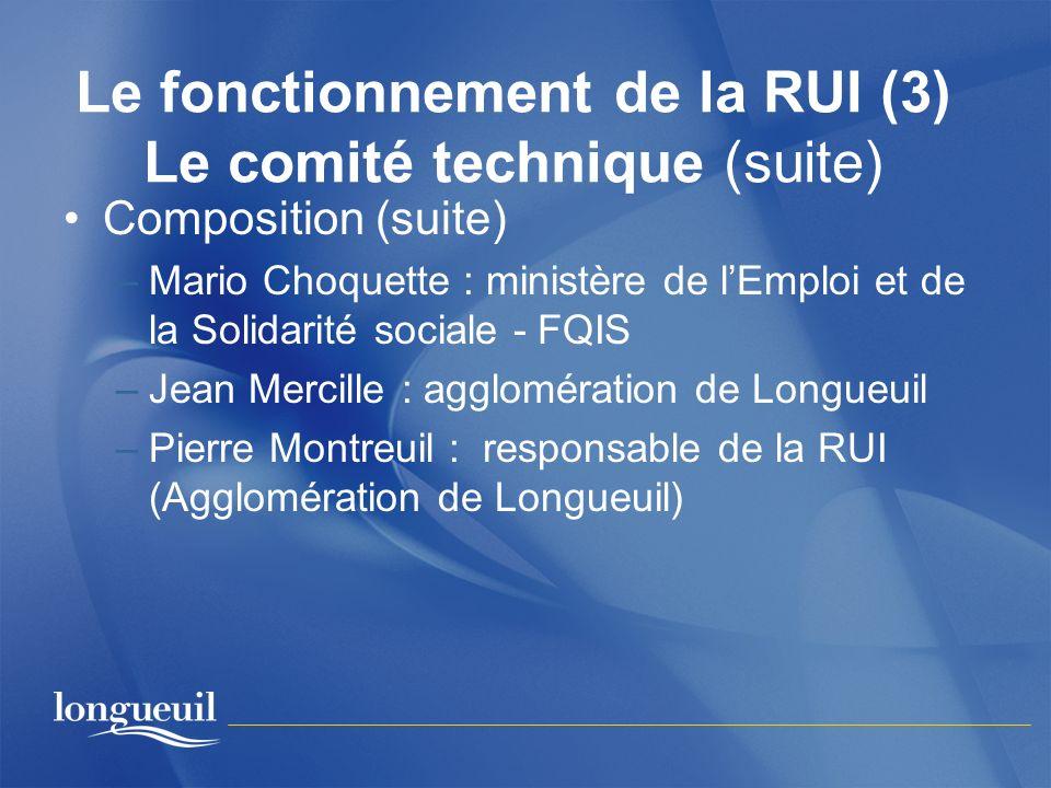 Le fonctionnement de la RUI (3) Le comité technique (suite)