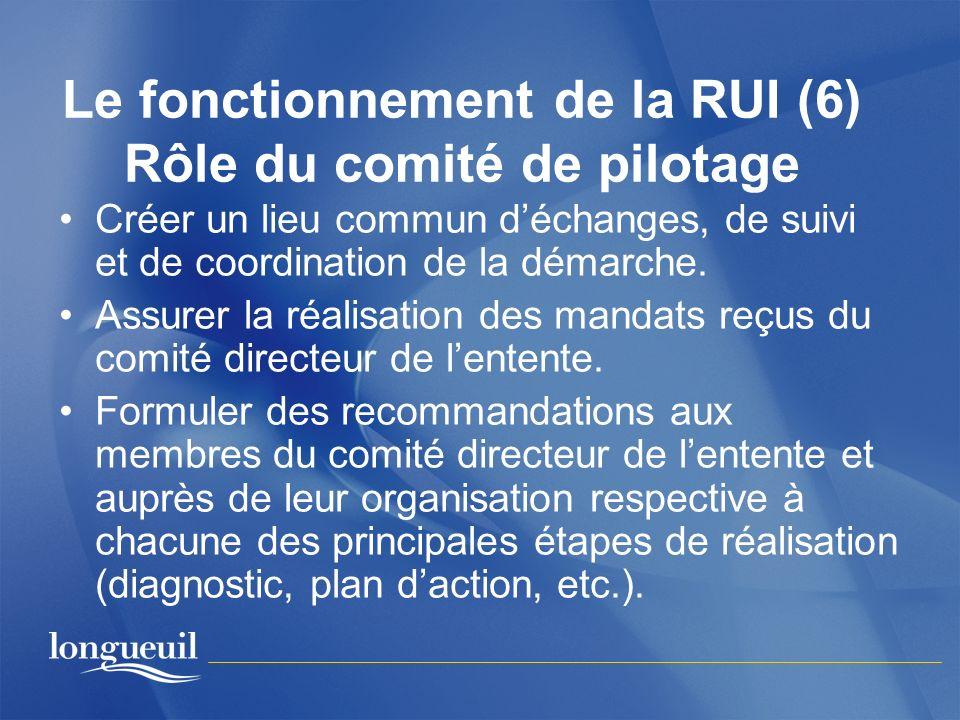Le fonctionnement de la RUI (6) Rôle du comité de pilotage