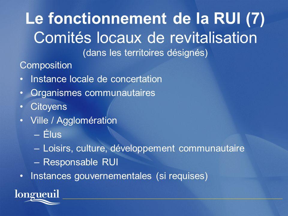 Le fonctionnement de la RUI (7) Comités locaux de revitalisation (dans les territoires désignés)