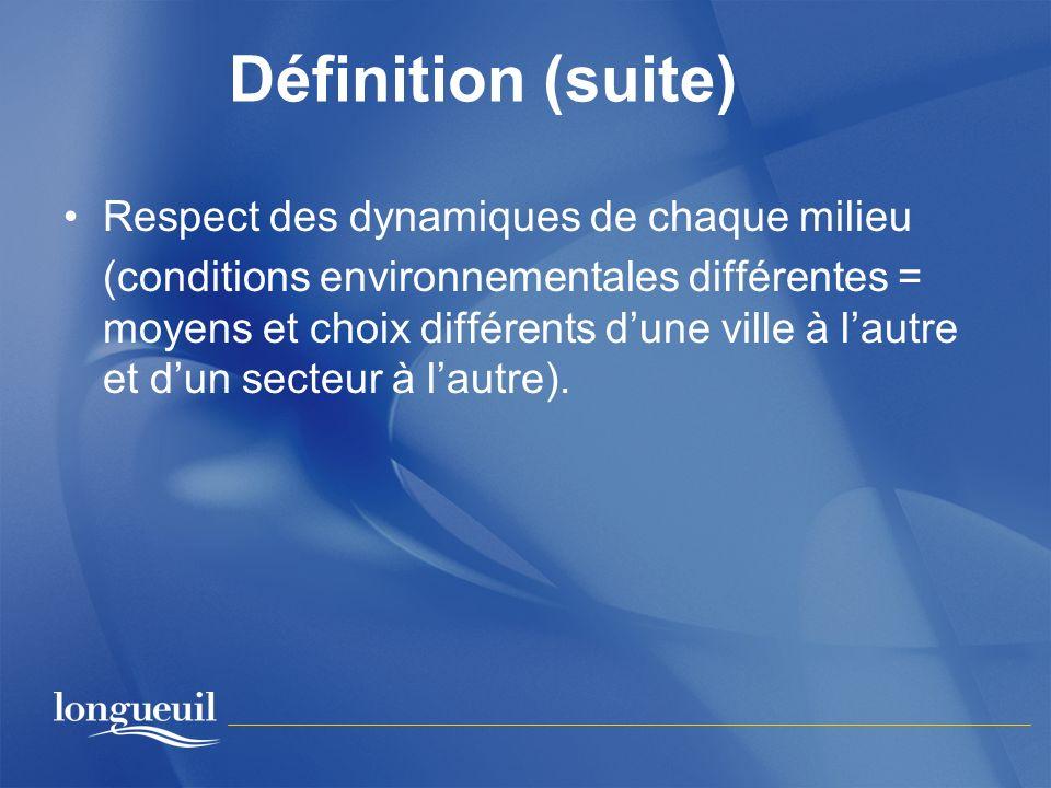 Définition (suite) Respect des dynamiques de chaque milieu