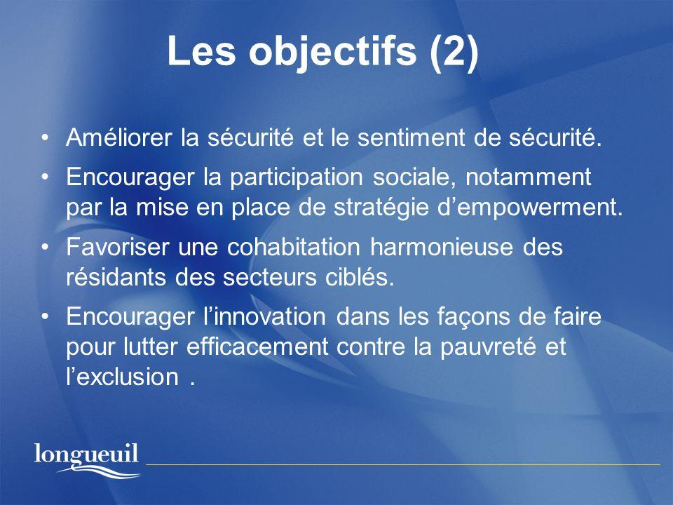 Les objectifs (2) Améliorer la sécurité et le sentiment de sécurité.