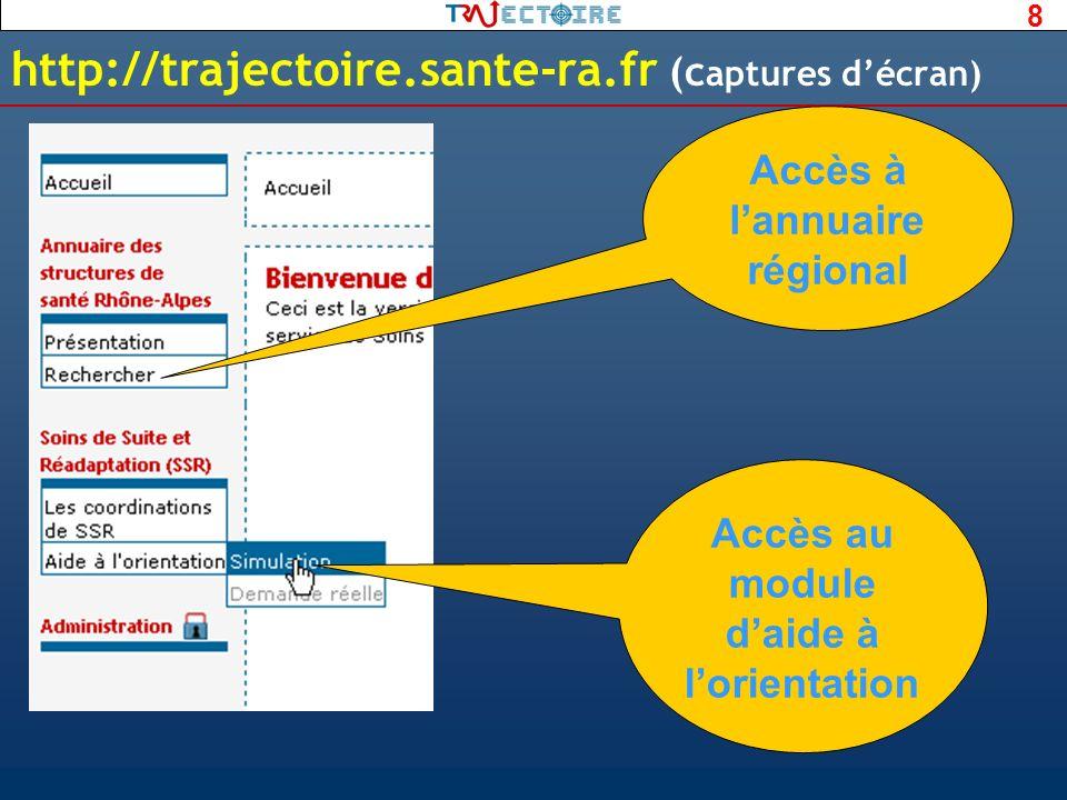 http://trajectoire.sante-ra.fr (captures d'écran)