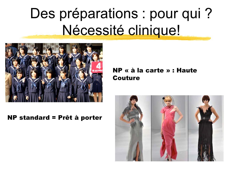 Des préparations : pour qui Nécessité clinique!