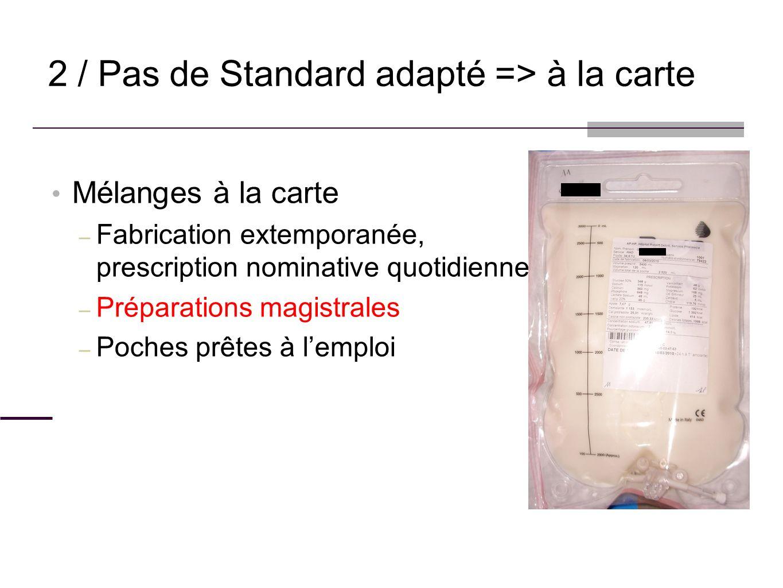 2 / Pas de Standard adapté => à la carte