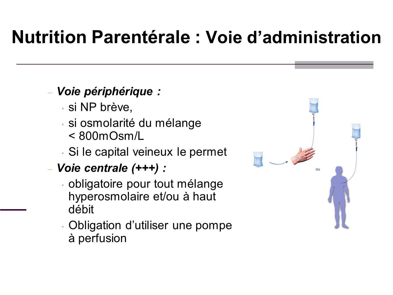 Nutrition Parentérale : Voie d'administration
