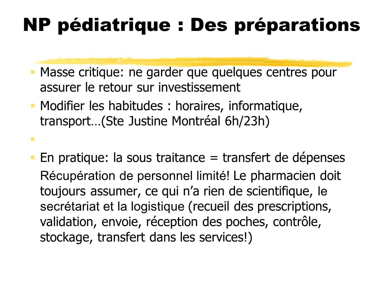 NP pédiatrique : Des préparations