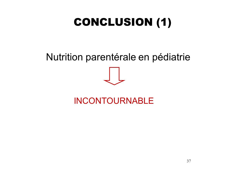 CONCLUSION (1) Nutrition parentérale en pédiatrie INCONTOURNABLE