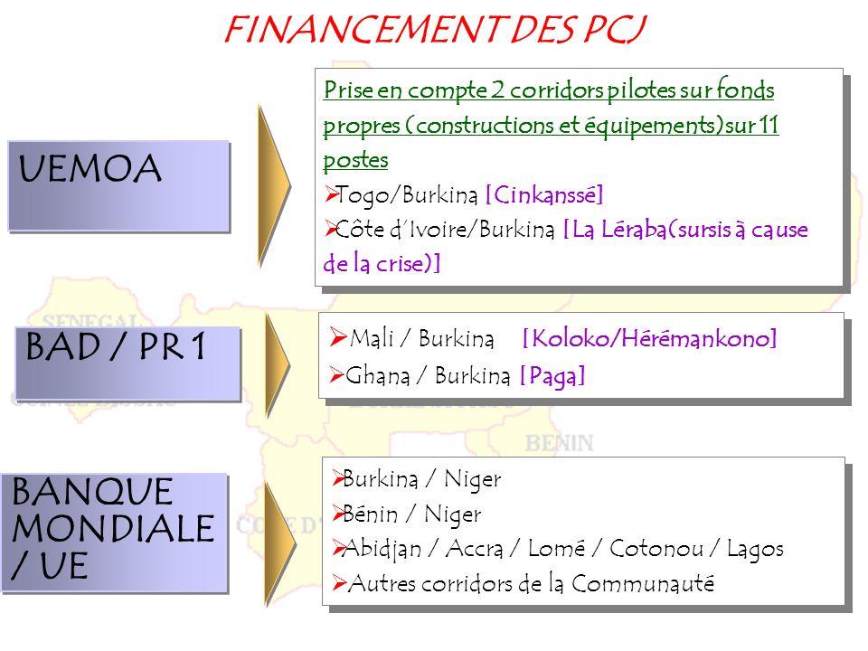 FINANCEMENT DES PCJ UEMOA BAD / PR 1 BANQUE MONDIALE / UE