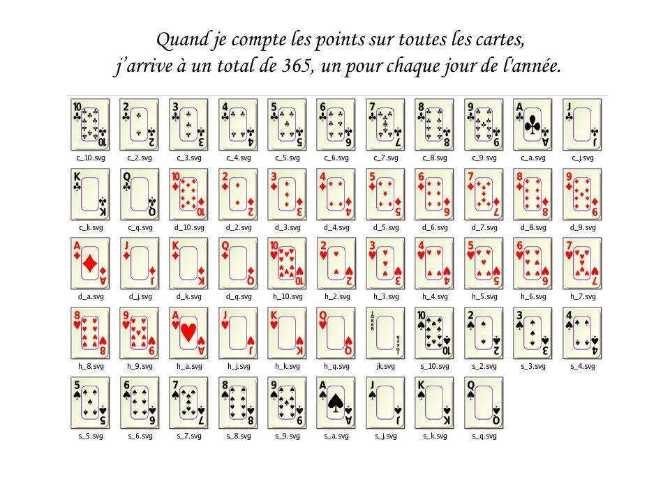 Quand je compte les points sur toutes les cartes, j'arrive à un total de 365, un pour chaque jour de l année.