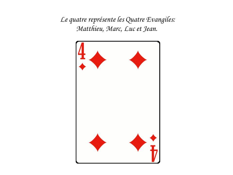 Le quatre représente les Quatre Evangiles: Matthieu, Marc, Luc et Jean.