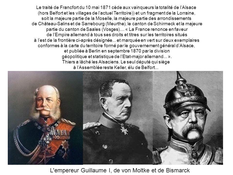 L empereur Guillaume I, de von Moltke et de Bismarck