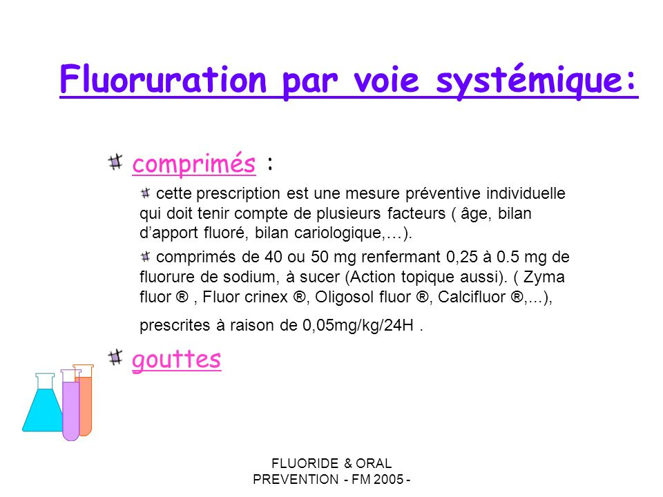 Fluoruration par voie systémique: