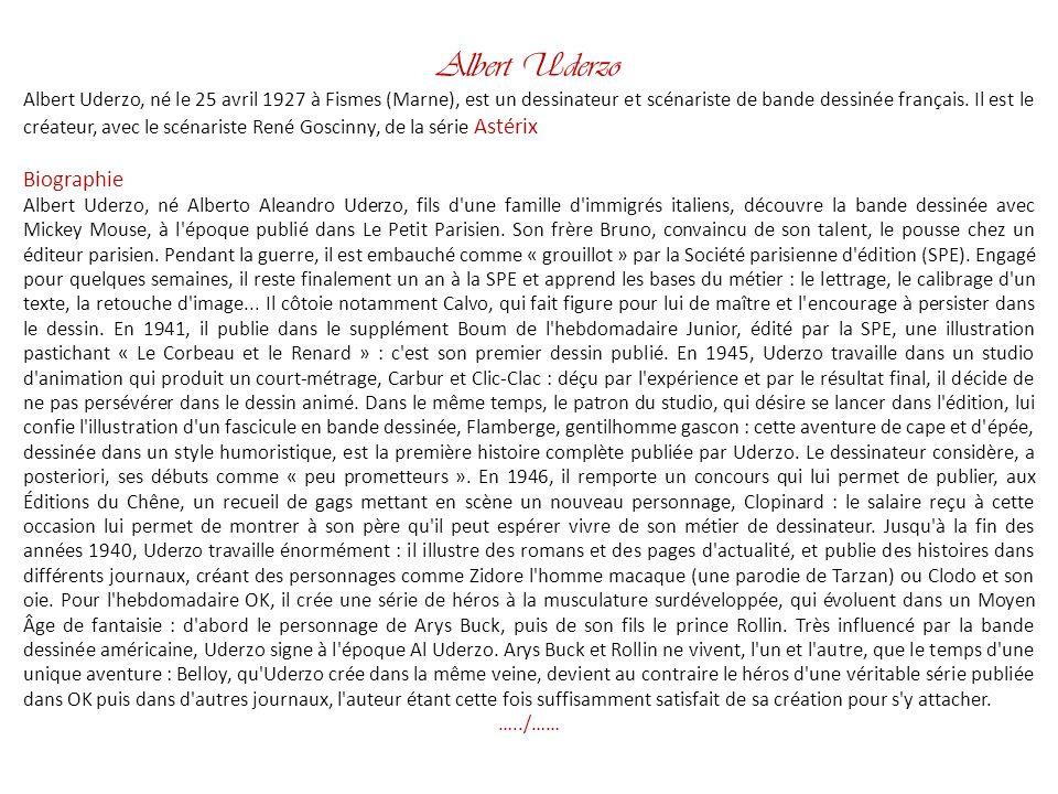 Albert Uderzo Biographie