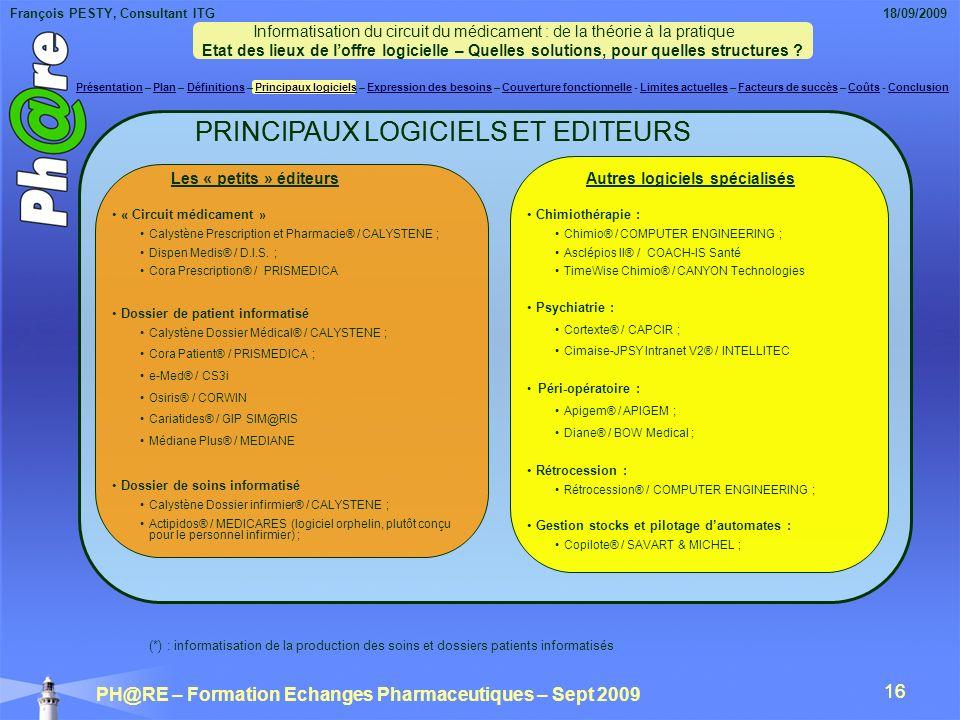 PRINCIPAUX LOGICIELS ET EDITEURS PRINCIPAUX LOGICIELS ET EDITEURS