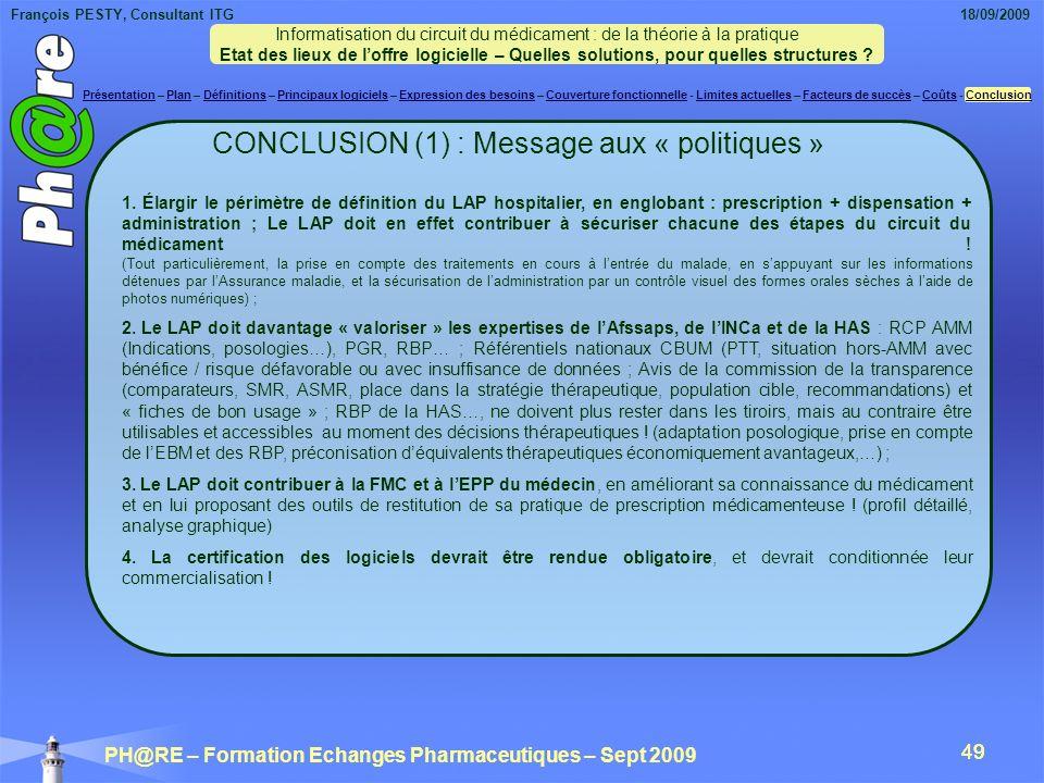CONCLUSION (1) : Message aux « politiques »