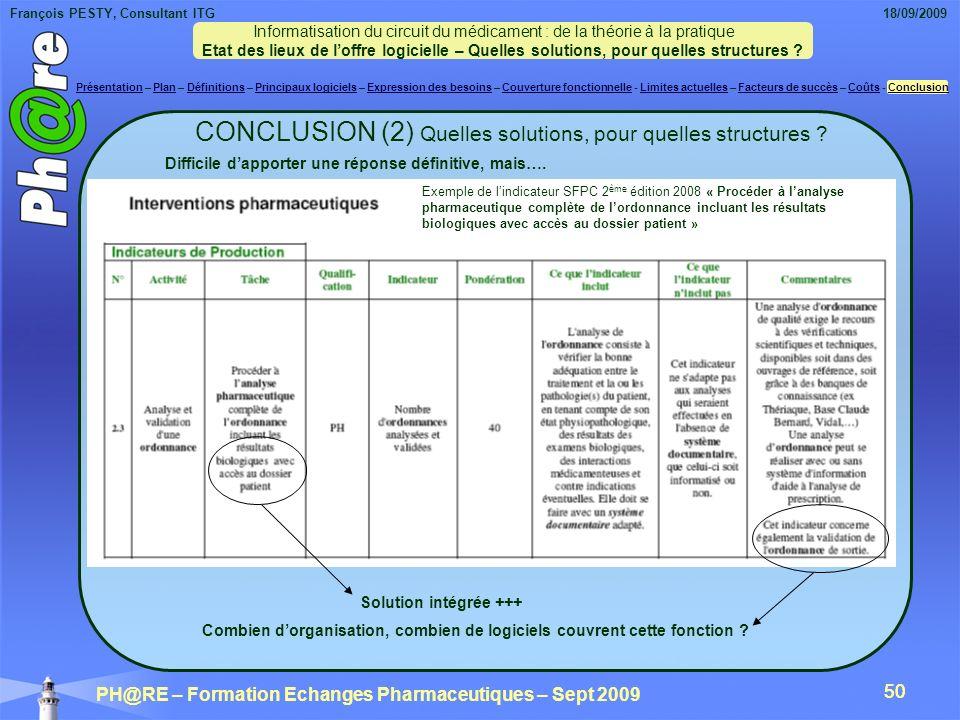 CONCLUSION (2) Quelles solutions, pour quelles structures