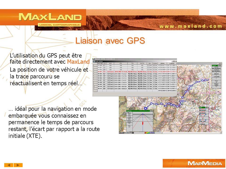 Liaison avec GPS L'utilisation du GPS peut être faite directement avec MaxLand.