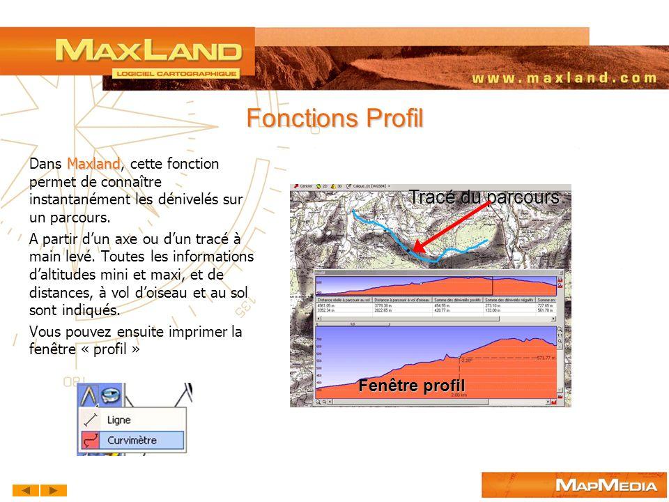 Fonctions Profil Tracé du parcours Fenêtre profil