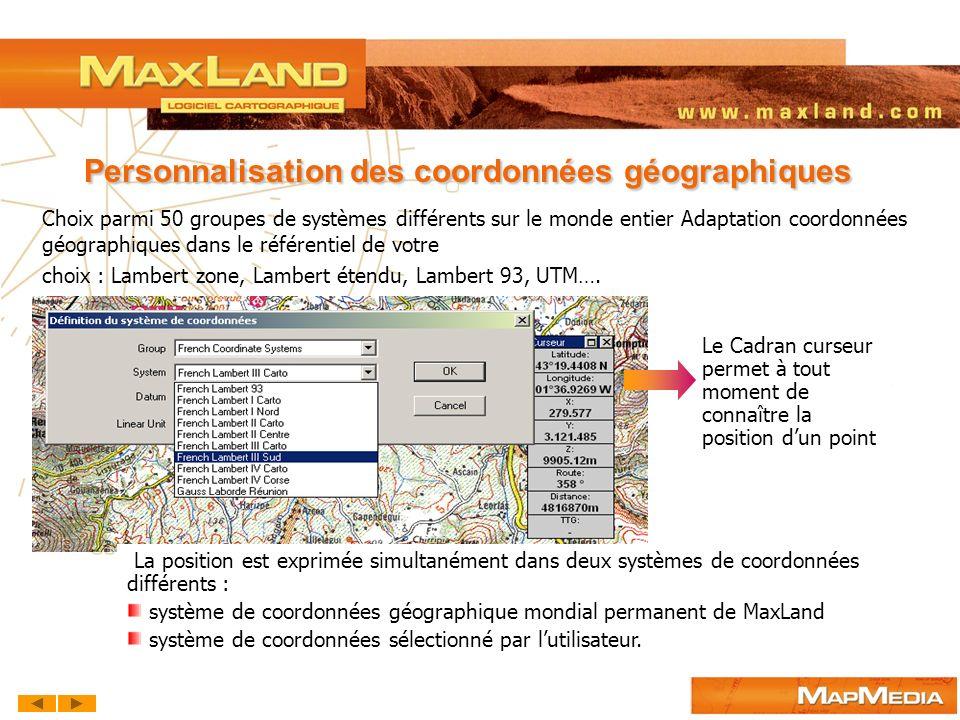 Personnalisation des coordonnées géographiques