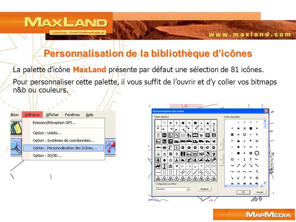 Personnalisation de la bibliothèque d'icônes