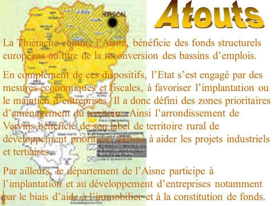 Atouts La Thiérache comme l'Aisne, bénéficie des fonds structurels européens au titre de la reconversion des bassins d'emplois.