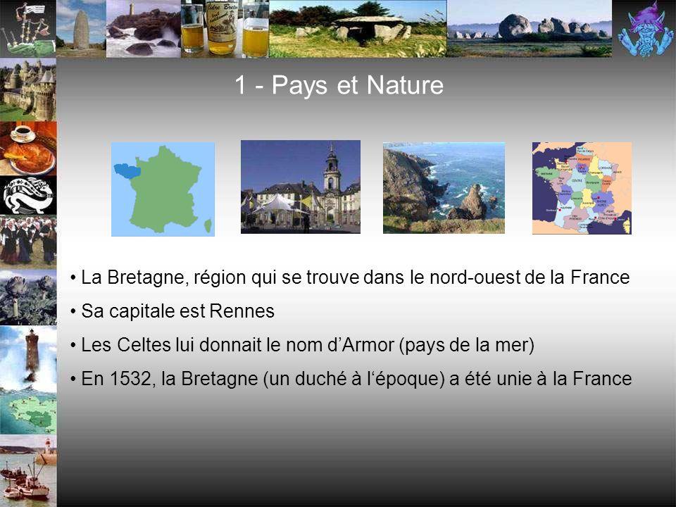 1 - Pays et Nature La Bretagne, région qui se trouve dans le nord-ouest de la France. Sa capitale est Rennes.