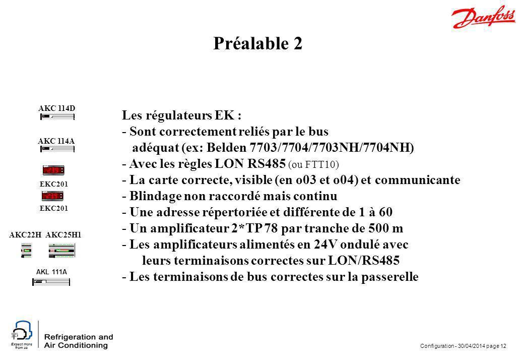 Préalable 2 Les régulateurs EK : - Sont correctement reliés par le bus