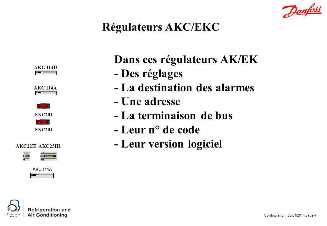 Dans ces régulateurs AK/EK - Des réglages - La destination des alarmes