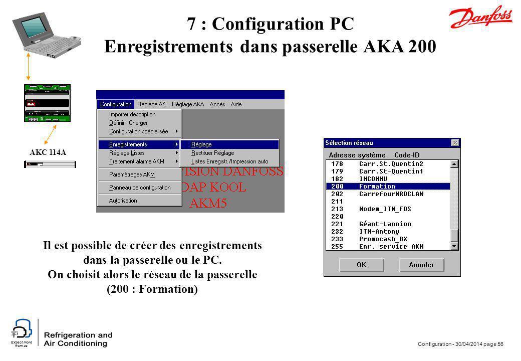 7 : Configuration PC Enregistrements dans passerelle AKA 200
