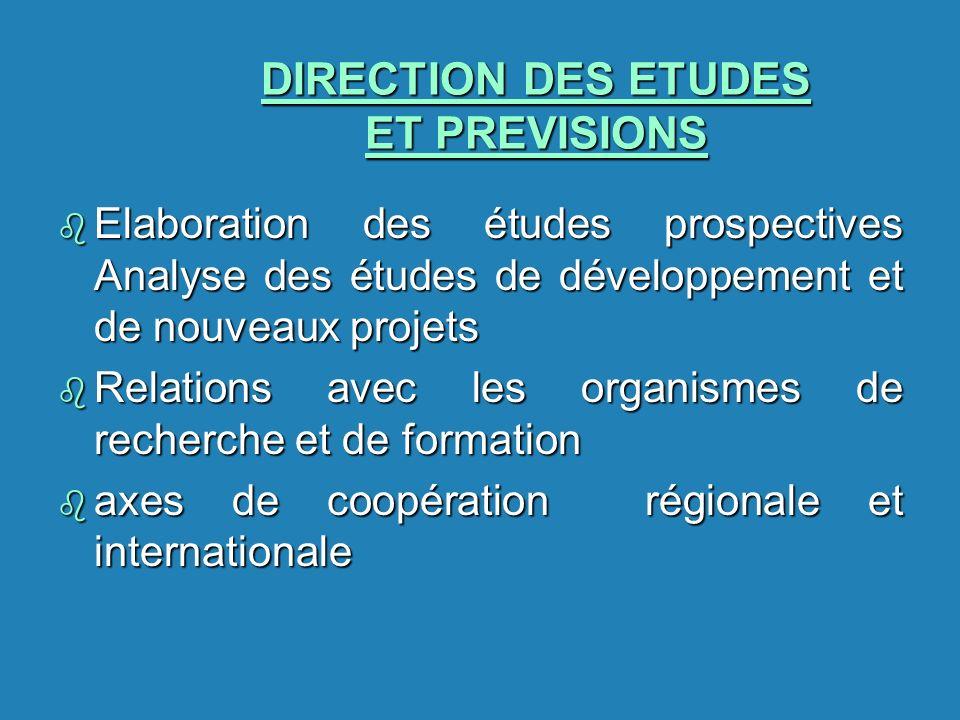 DIRECTION DES ETUDES ET PREVISIONS