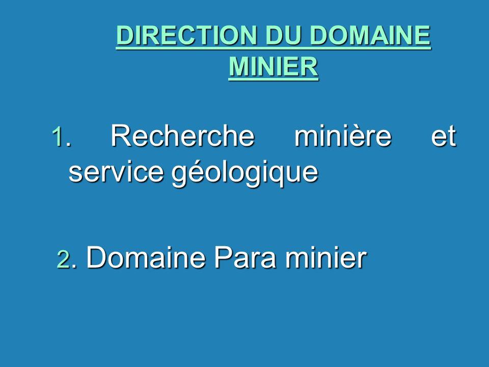 DIRECTION DU DOMAINE MINIER