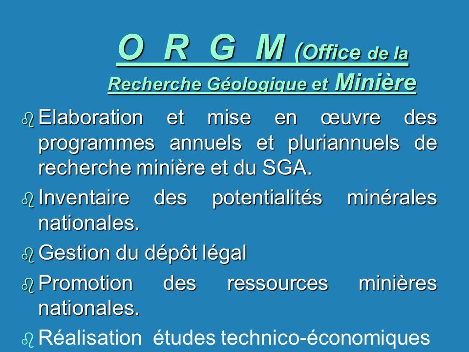 O R G M (Office de la Recherche Géologique et Minière