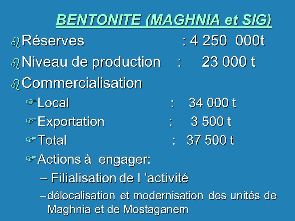 BENTONITE (MAGHNIA et SIG)