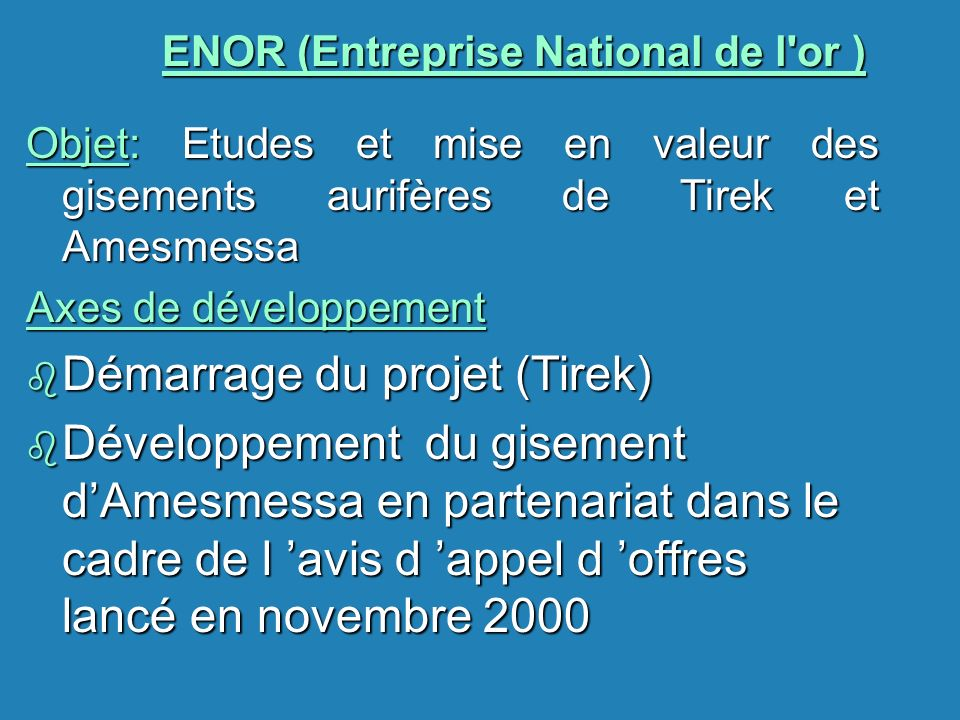 ENOR (Entreprise National de l or )