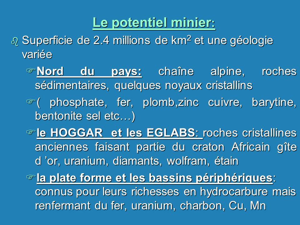 Le potentiel minier: Superficie de 2.4 millions de km2 et une géologie variée.