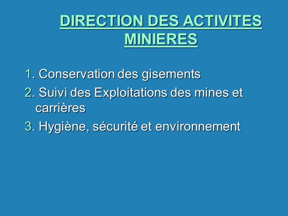 DIRECTION DES ACTIVITES MINIERES