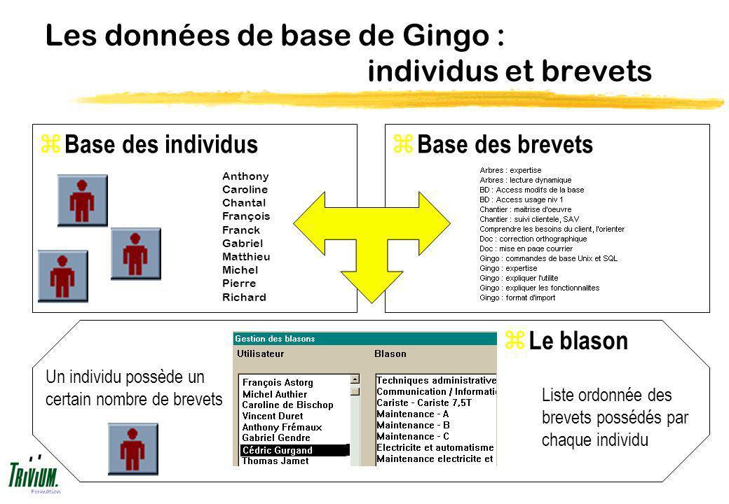 Les données de base de Gingo : individus et brevets