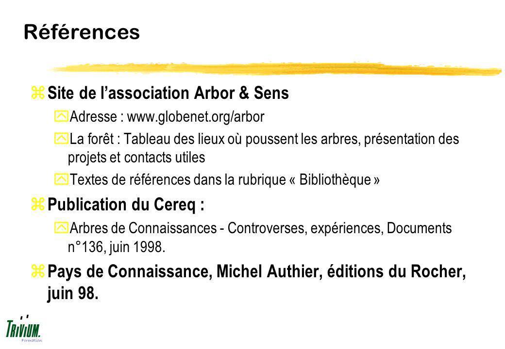 Références Site de l'association Arbor & Sens Publication du Cereq :