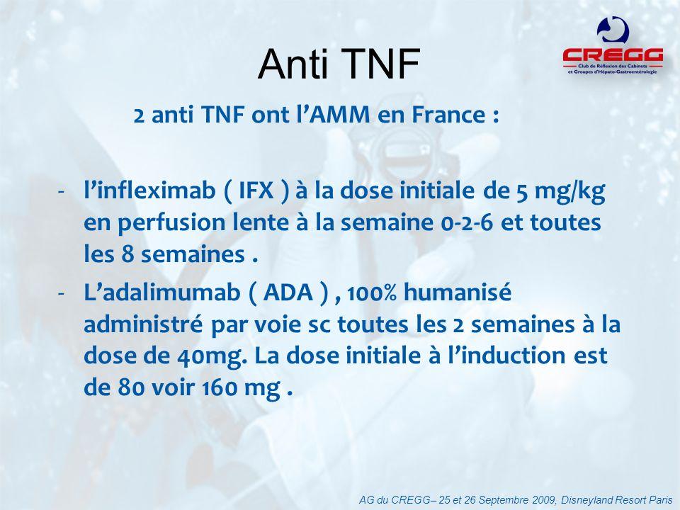 Anti TNF 2 anti TNF ont l'AMM en France :