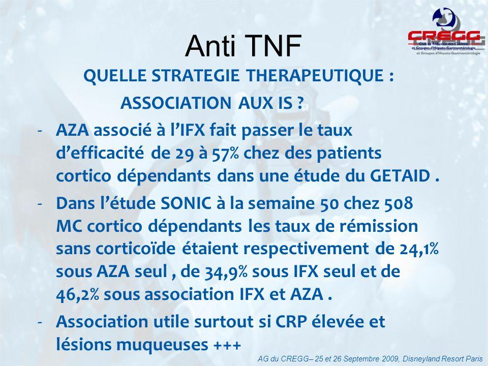 Anti TNF QUELLE STRATEGIE THERAPEUTIQUE : ASSOCIATION AUX IS