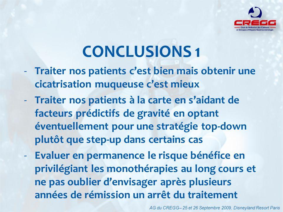 CONCLUSIONS 1 Traiter nos patients c'est bien mais obtenir une cicatrisation muqueuse c'est mieux.