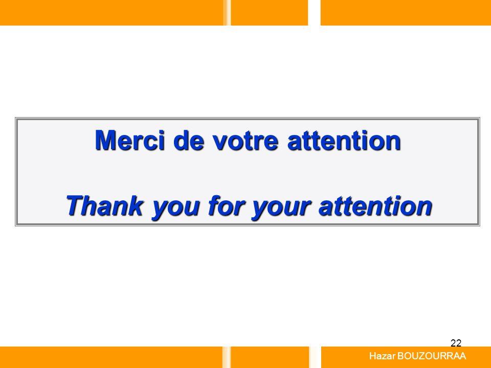 Merci de votre attention Thank you for your attention