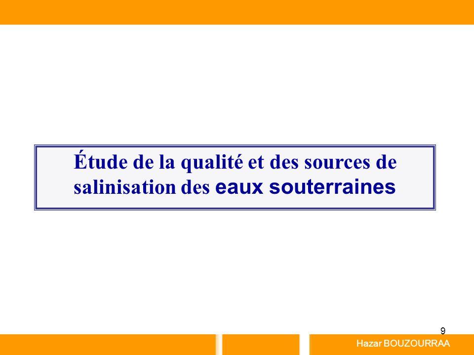 Étude de la qualité et des sources de salinisation des eaux souterraines