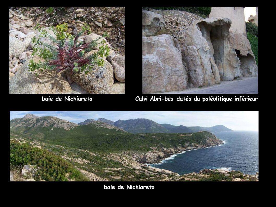 baie de Nichiareto Calvi Abri-bus datés du paléolitique inférieur baie de Nichiareto