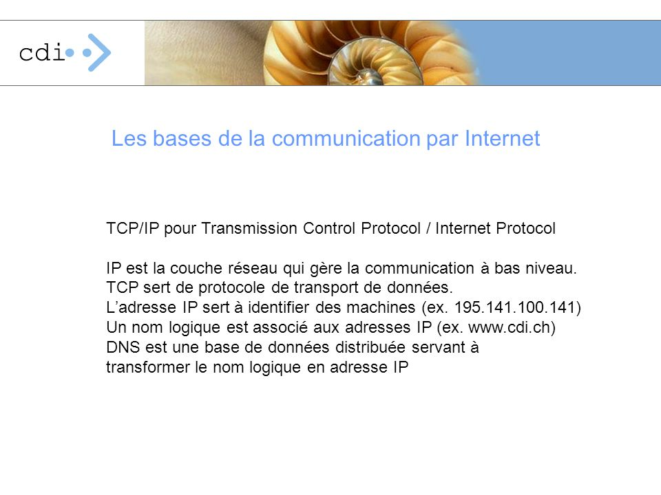 Les bases de la communication par Internet