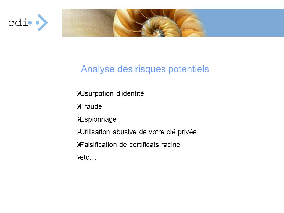 Analyse des risques potentiels