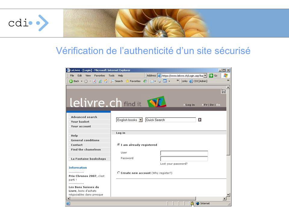 Vérification de l'authenticité d'un site sécurisé