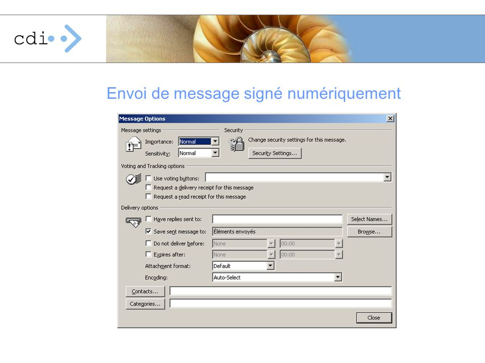 Envoi de message signé numériquement