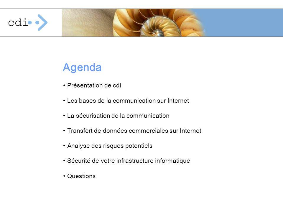 Agenda Présentation de cdi Les bases de la communication sur Internet